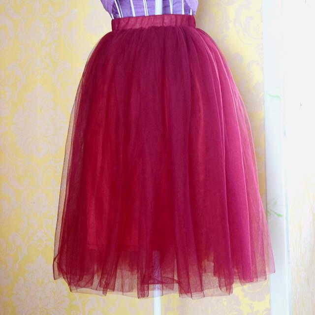 5249646976 placeholder New Fashion Three Layer Tulle Skirts Womens Blue Burgundy Adult Tutu  Skirt Elastic High Waist Pleated