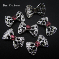 10pcs Hollow 3d nail bows Crystal rhinestones bow nail art stickers for toes and nails AM169