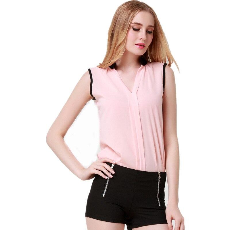 Blusas Femininas 2015 New Fashion Womenu0026#39;s V Neck Summer Chiffon Blouses Cute Sleeveless Blouse ...