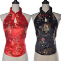 2016 New Design Backless Dragon Embroidery Neck Sleeveless Crop Top For Woman