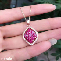 KJJEAXCMY boutique jewels 925 sterling silver enchased natural ruby female pendant + necklace diamond shaped shaped jewelry ant