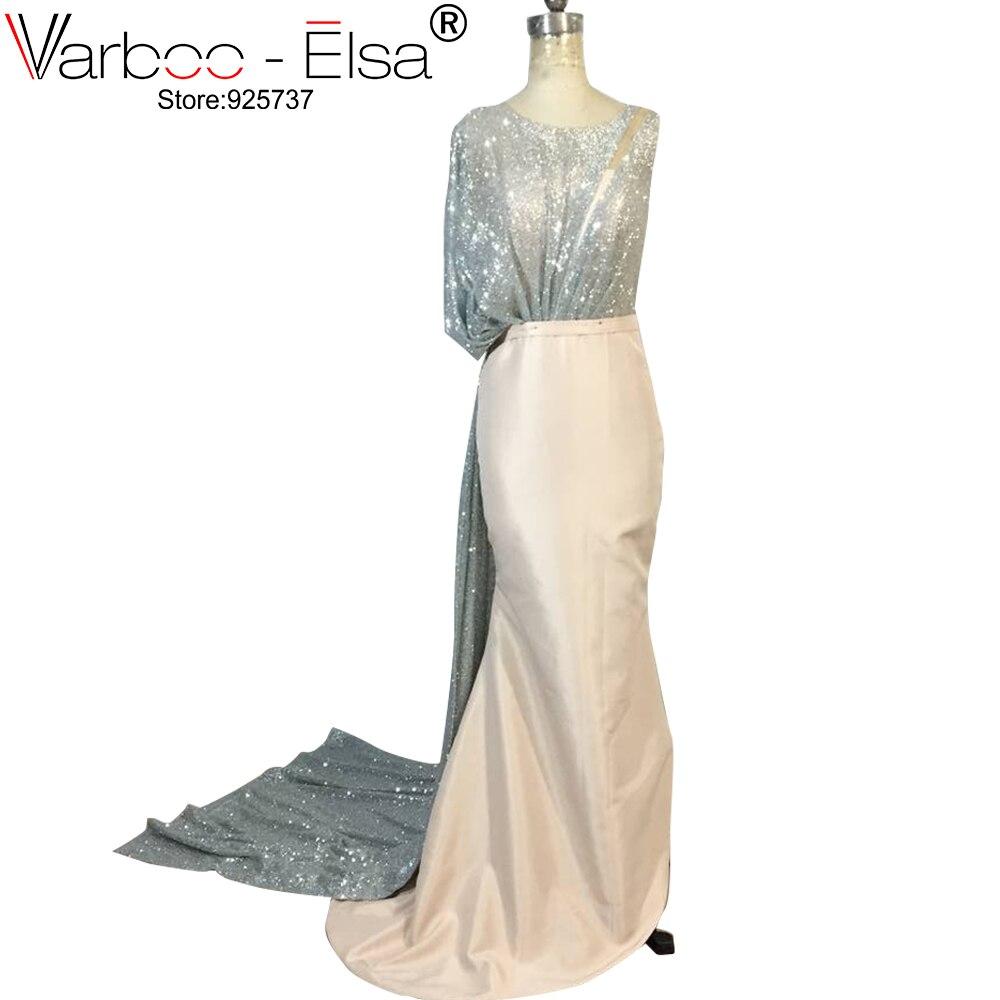 VARBOO ELSA Glitter Silver Sequins Evening Dress Sleeveless Mermaid Elegant  Women Formal Dress 2018 Saudi Arabia Prom Dresses 95625b5f03d8