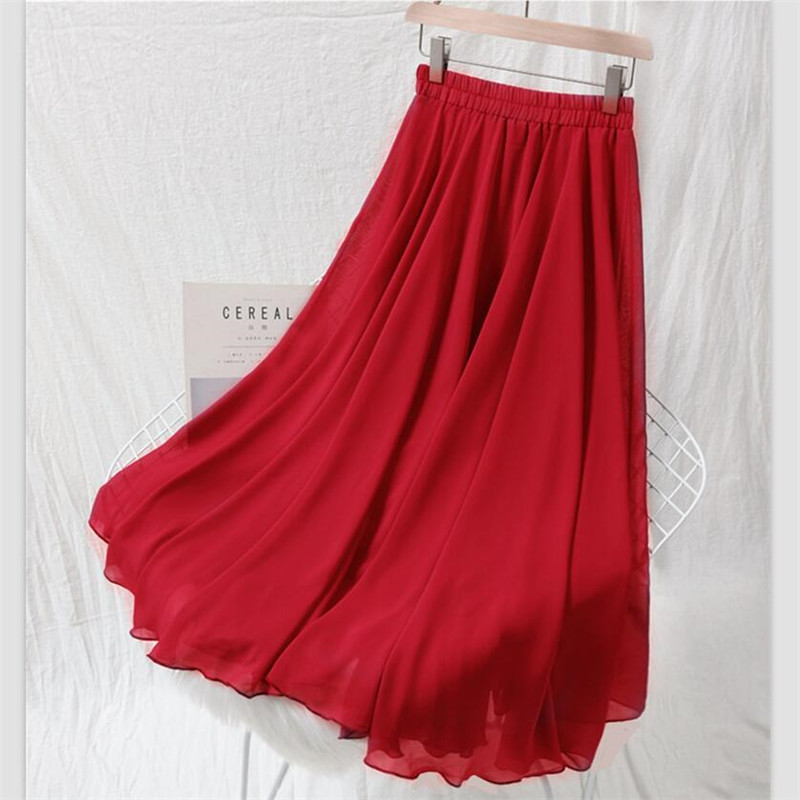 2020 Summer Women Chiffon Long Skirts Solid All-Match Maxi Skirt Autumn Elegant Skirts Plus Size M-7XL Black Blue Pink Lavender