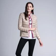 Ladies vogue reversible lengthy sleeved stand collar skinny mild weight slim down jacket girls white duck down winter coat 2017