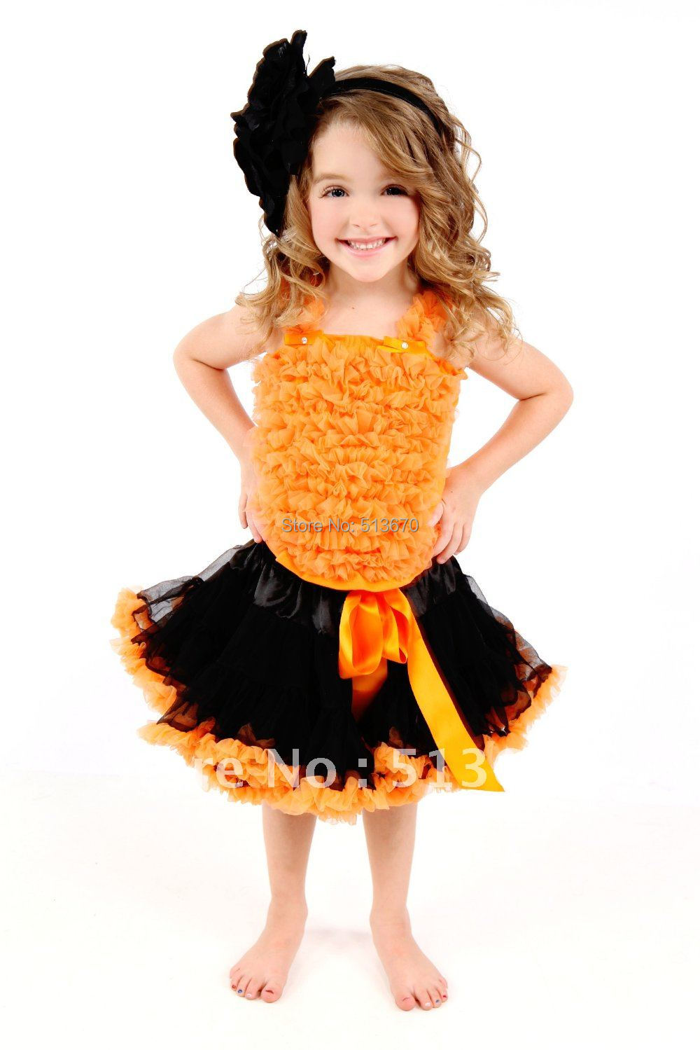 Halloween Black Orange Pettiskirt Matching Orange Ruffles Tank Top MAMM332