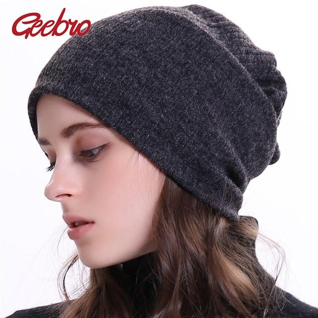 cd68ccbe7ee Geebro Women s Ribbed Beanie Hat Winter Plain Cotton Slouchy Beanies for  Female Ladies Balavaca Skullies Beanies Dropshipping