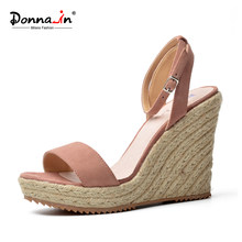 Donna-in 2019 Summer Platform Sandals Wedge Women Genuine Leather High Heels Open Toe Ladies Shoes Brand Fashion Black Pink Blue(China)