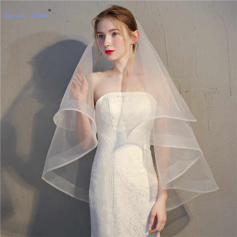 Favordear Simple Short 2 Layers Wedding Veil Ivory Pencil Edge Fingertip Length Bridal Veil with Comb Wedding Accessories