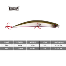 Kingdom floating pencil 110mm 10g /86mm 6.5g Fishing Lure Hard Plastic Baits  Bending shape RED VMC Hook six colors model 5349