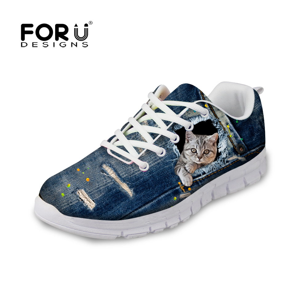 FORUDESIGNS Women Lace-up Flat Shoes Cute Denim Pet Cat Print Casual Female Light Flats Leisure Ladies Girls Shoe Zapatos Mujer instantarts 2018 cute cartoon cat printed women s flats shoes female summer mesh flat sneakers shoes casual shoes zapatos mujer
