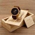Bobo bird reloj de las mujeres de bambú de pulsera con cuero genuino del zurriago de lujo marca de relojes de madera con madera boxas regalos