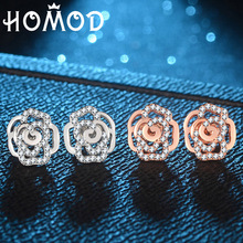 HOMOD Luxury AAA Zirconia Rose Gold Color Flower Earrings for Women Valentine Brand Party Jewelry Gift