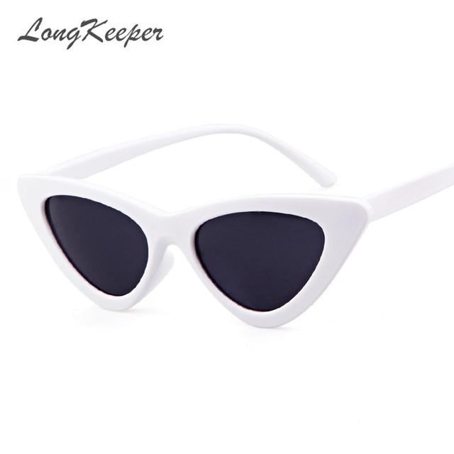 5d55fe4e31bd LongKeeper Cute Sexy Retro Cat Eye Sunglasses Women Small Black White 2018 Triangle  Vintage Cheap Sun gGlasses Red Female UV400