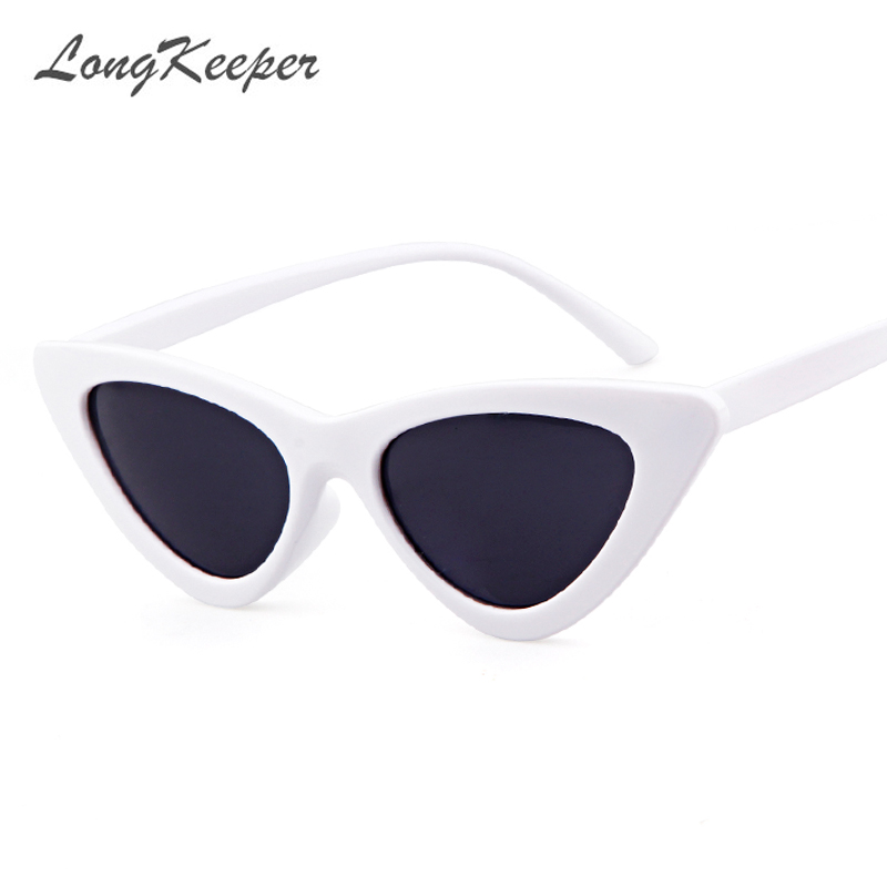 LongKeeper <font><b>Cute</b></font> <font><b>Sexy</b></font> <font><b>Retro</b></font> <font><b>Cat</b></font> <font><b>Eye</b></font> <font><b>Sunglasses</b></font> Women Small Black White 2018 Triangle Vintage Cheap Sun gGlasses Red Female UV400 image
