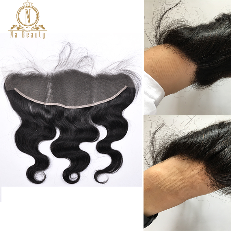 Invisible HD Lace Frontal Body Wave Brazilian Remy Hair 13X4 High Definition Lace Frontal Closure With Baby Hair Pre Plucked
