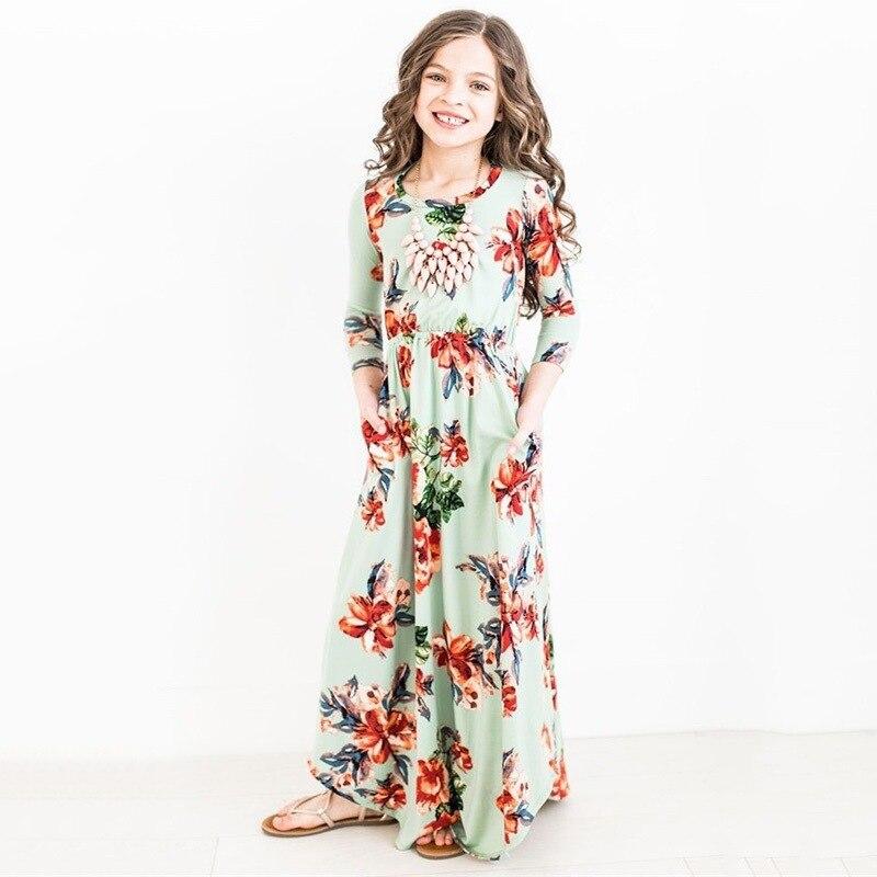цена на ZIKA Fashion Trend Bohemian Long Dress for Girls Beach Floral Print Clothes Kids Party Princess Wedding Dresses Size 9M-10T