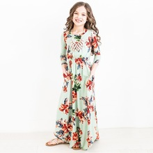ZIKA Fashion Trend Bohemian Long Dress for Girls Beach Floral Print Clothes Kids Party Princess Wedding Dresses Size 9M-10T