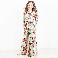 ZIKA Fashion Trend Bohemian Long Dress For Girls Beach Floral Print Clothes Kids Party Princess Wedding