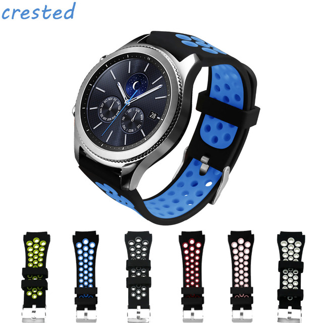 2bbb937d4e13 CRESTED 22mm sport silicone strap for samsung gear s3 Frontier Classic R760  R770 watch band