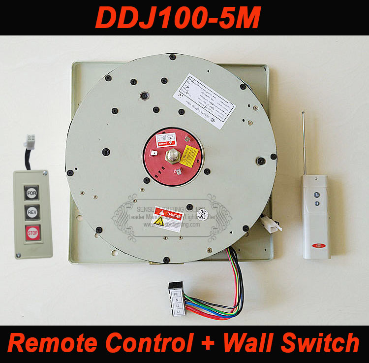 100KG 5M Drop Wall Switch+Remote Control Chandelier Hoist Lighting Lifter Electric Winch Light Lifting System 110V-120V,220-240V