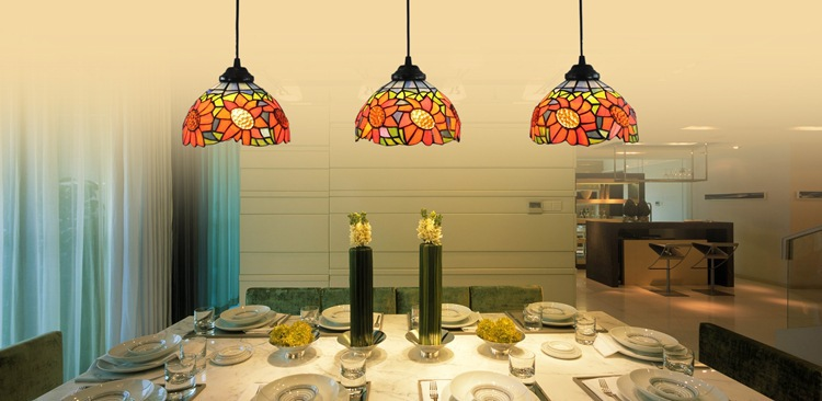 Tiffany sunflower Stained Glass Suspended Luminaire E27 110-240V Chain Pendant lights for Home Parlor Dining Room