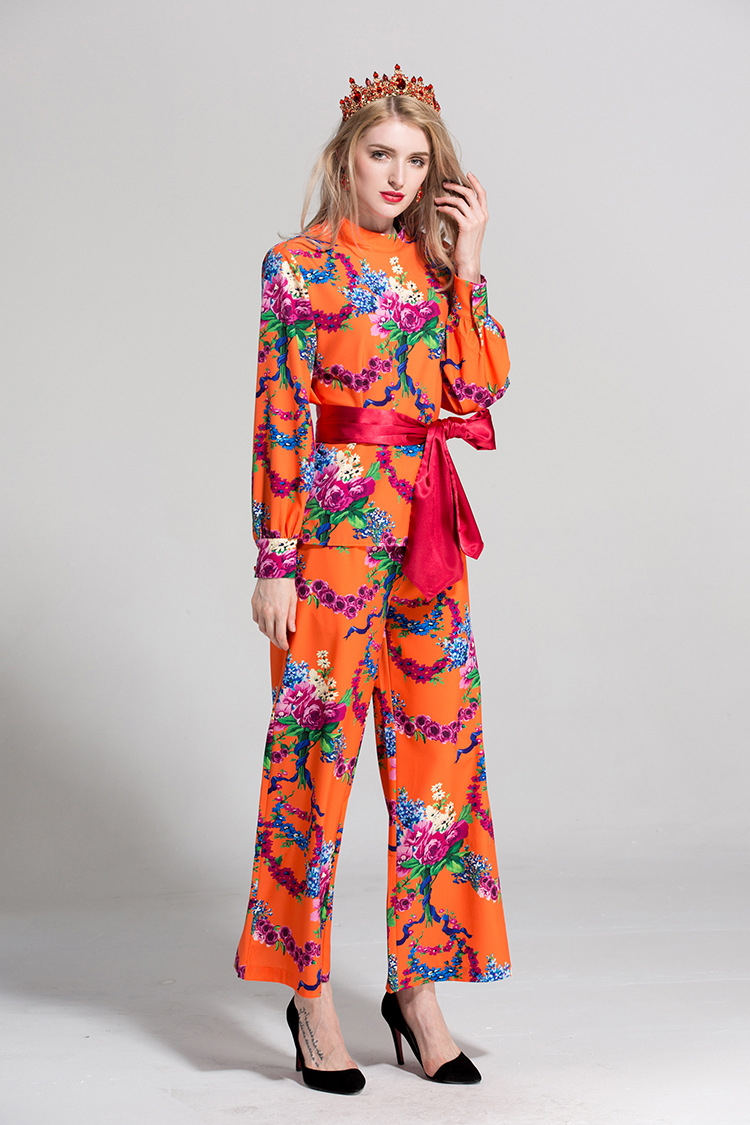 Ensemble Designer S457 2018 Vintage D'été Loisirs Qualité Prit Show Pistes Rétro Pantalon Pièces As Imprimer Blouses Rose Costume Picture Deux Haute Décontracté qpSMVzGU
