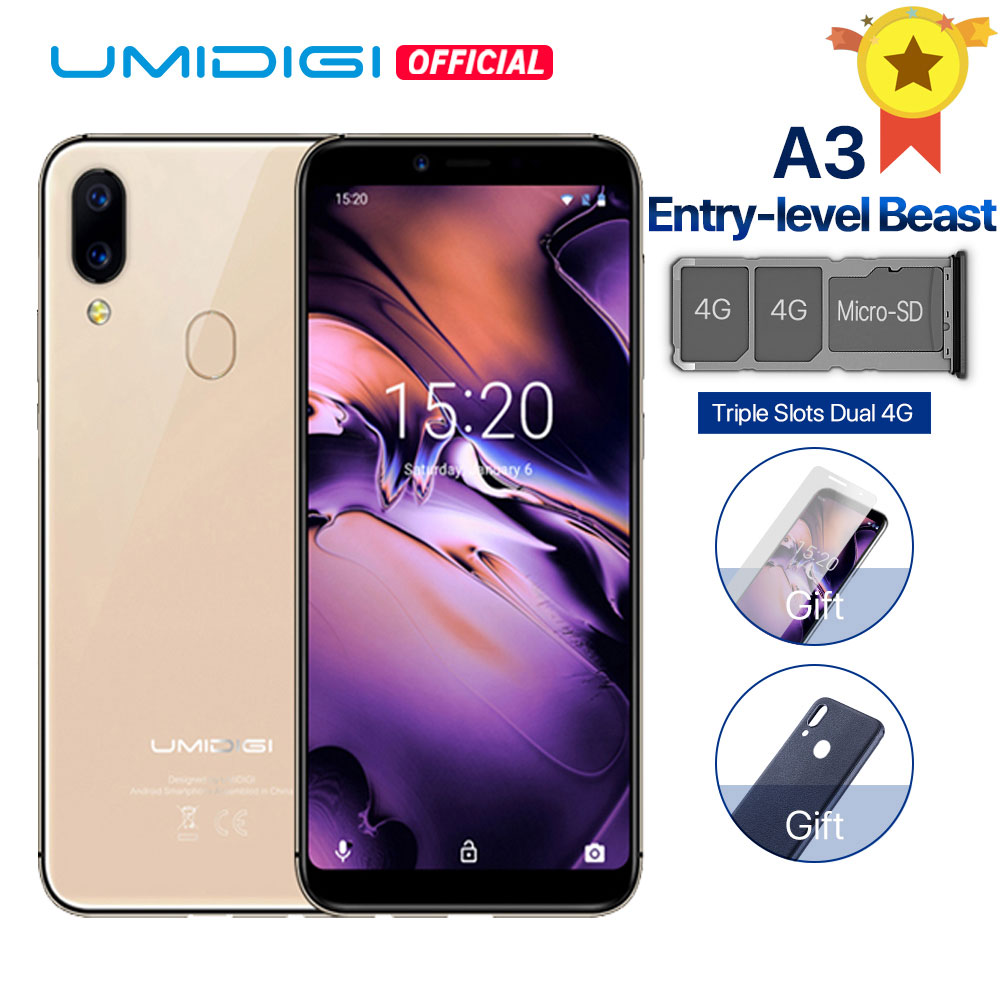 """UMIDIGI A3 Global Band Dual 4G 5.5""""incell HD+display 2GB+16GB smartphone Quad core Android 8.1 Face Unlock 12MP+5MP Mobile phone"""