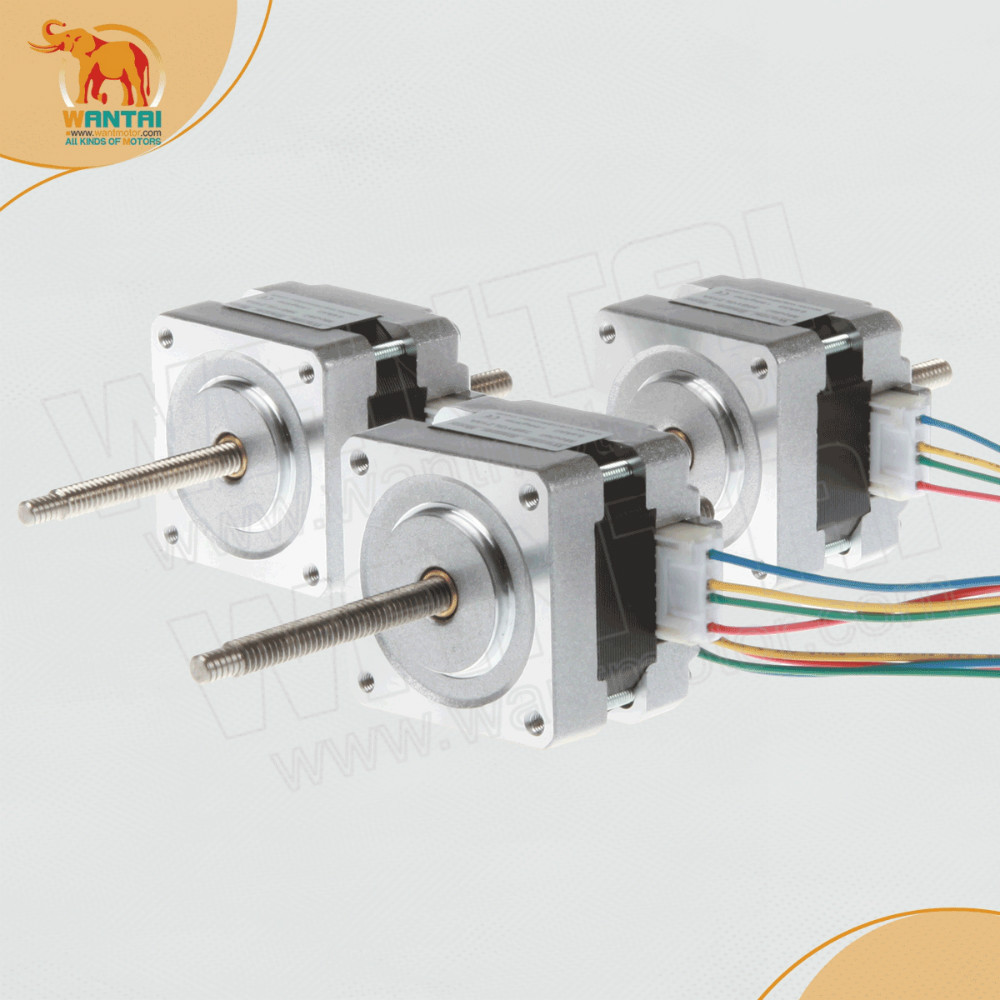 (High Quality and ship worldwide )5PCS wantai Nema 16 Stepper Linear Motor of 100mm Stoke Length 39BYGL215A,12VDC,0.4A