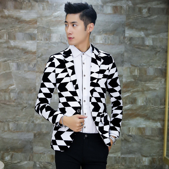 Traje chaqueta de los hombres de Celosía jacquard blanco y negro Delgado ocasional Blazers plus tamaño 3XL 4XL formal de negocios vestido de fiesta clásico X17