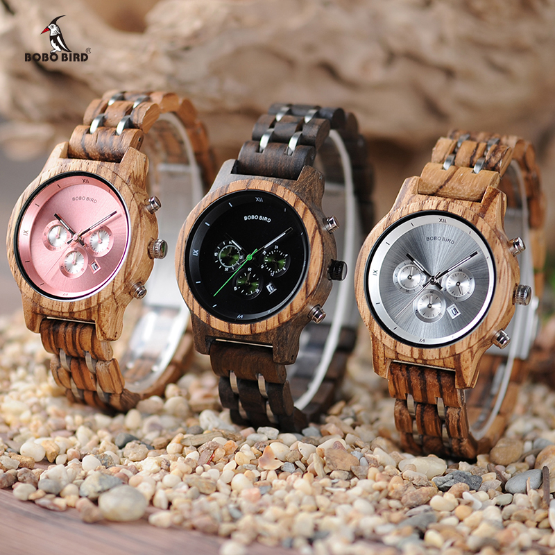 2018 BOBO BIRD Wood Watches Timepieces for Men and Women Functional Stop Wrist Watch Date Display Wooden Gifts Box C-P18N