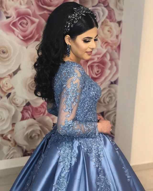 ヴィンテージイスラム教徒 2019 ブルーレースフル袖パフィーボールガウンサウジアラビアアラビアウエディングドレス Vestido formatura
