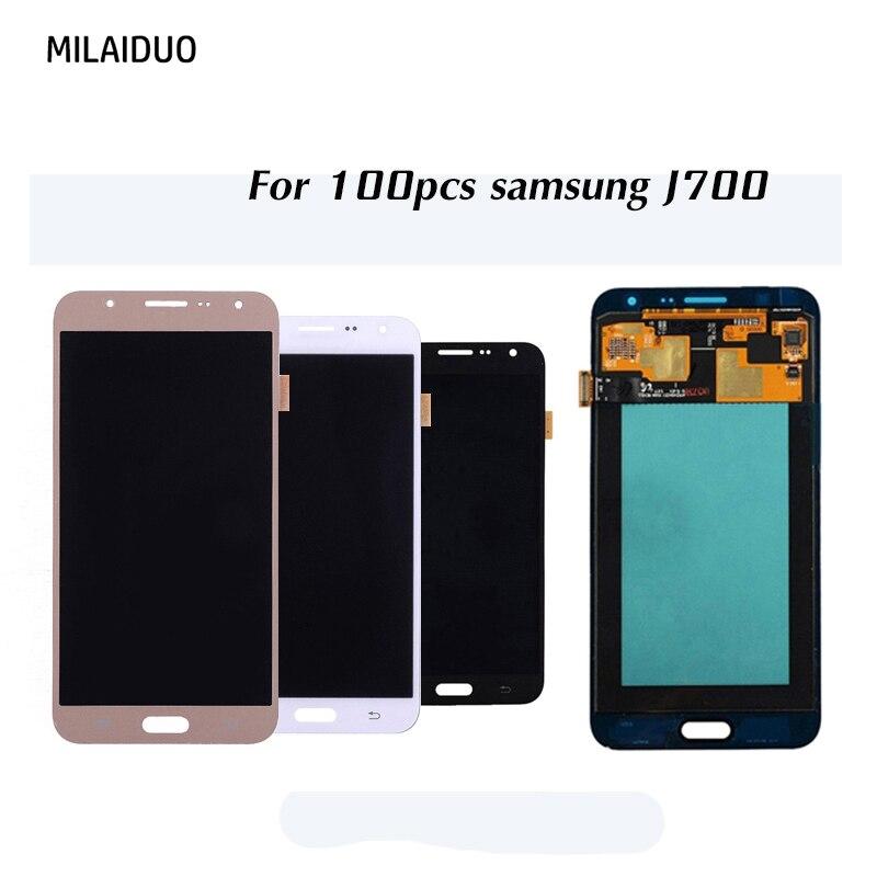 100 pièces AMOLED pour Samsung Galaxy J7 2015 J700 LCD écran tactile numériseur OEM Super OLED assemblage noir blanc or