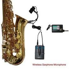 A prezzi accessibili Sassofono Wireless Microphone System Professional Sax microfono a collo doca A Condensatore Cordless da tasca Strumento Musicale