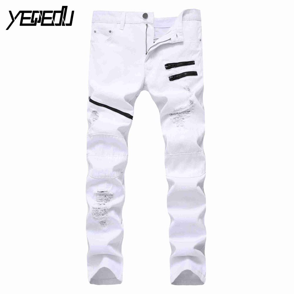 #1418 2017 рваные мужские белые джинсы Мода Большой размер уничтожены джинсы с молнией узкие потертые джинсы мужские панк хип -хоп ...
