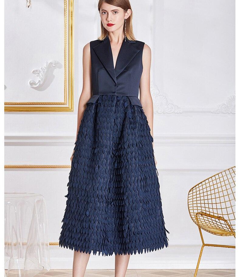 2018 Summer NEW Floral High Waist Sleeveless Suit Dress Elegant Party Banquet Patchwork Tank Dress