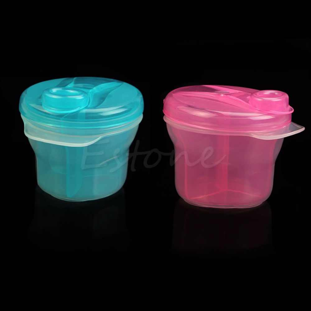 Portable Baby Three Milk Powder Formula Dispenser Food Container Storage Feeding Box