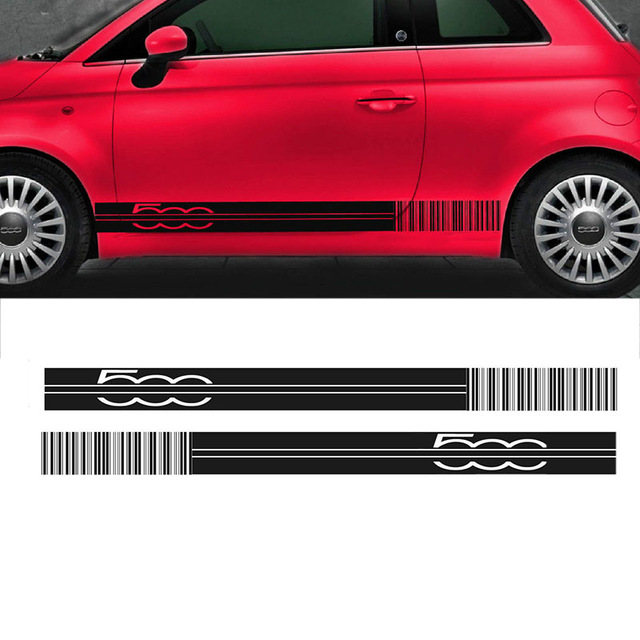 Exterior Accessories Automobiles & Motorcycles Automobile 2pcs Car Side Racing Stripes Decals For Fiat 500 Barcode/tuning/graphics Sticke Car Styling Da-50056