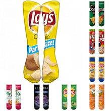 1 pair Funny Unisex Men Art Socks women printing Potato chips Knee High