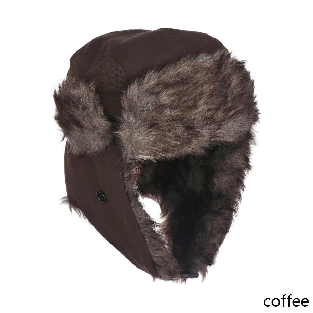 d002b85a93c ... Men Pilot Trapper Cap Winter Warm Trooper Earflap Russian Ski Snow Hat  Faux Rabbit Fur Bomber ...