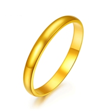 New Pure 999 24K Yellow Gold Band Women Lucky Smooth Ring Size US 6 2-2.5g