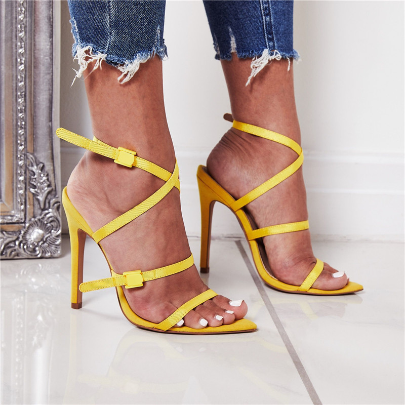 DiJiGirls Fashion Gladiator Roman Women Shoes Red Yellow Black Ribbon Combination High Heel Sandals Stiletto Party Woman Shoes