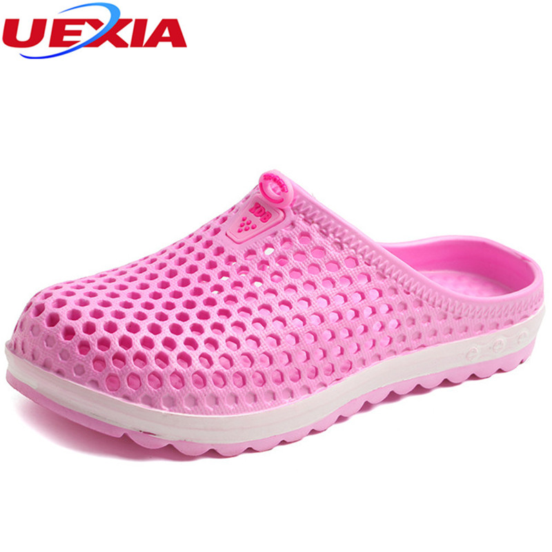 UEXIA Summer Hollow Beach Slippers Women Shoes laye 2018 New Breathable Flip Flops Flats Water Slipper Shoe Casual EVA Sandalias suihyung design new women and men summer flat shoes hit color breathable hollow beach slippers flips non slip unisex sandals