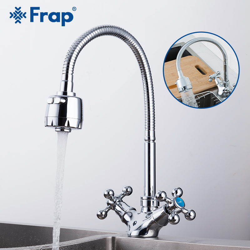FRAP Kitchen Faucet Dual Handle Brass Kitchen Sink Faucet Taps Zinc Mixer Faucet Cold And Hot Water Faucet Saving Water