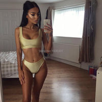 Silver/Gold/Green/Rose Women Sporty Bikini Top Triangle Swimsuit Bottom Sexy 2017 Bikini set Push up Biquini Bathing suit Beach