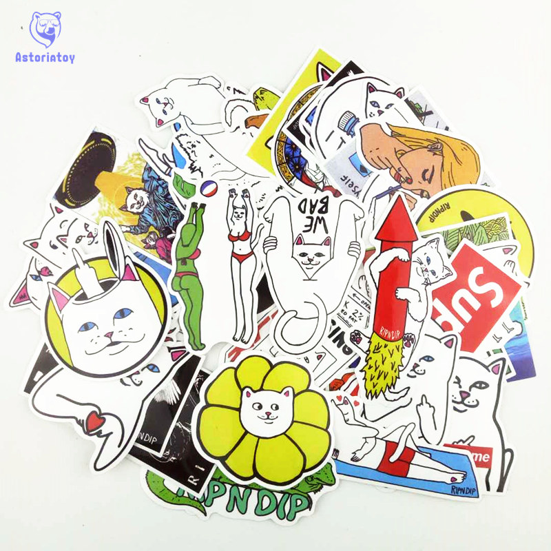 50pcs/1lot Funny Ripndipp Sticker Creative Personality Waterproof Rip N Dip Laptop Sticker for Finger Skateboard Car Styling Dec аккумуляторная дрель prorab 1238 k2
