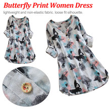 Korean Style Full Sleeve Butterfly Print Casual Loose Beach Dresses Robe Womens Sexy V Neck