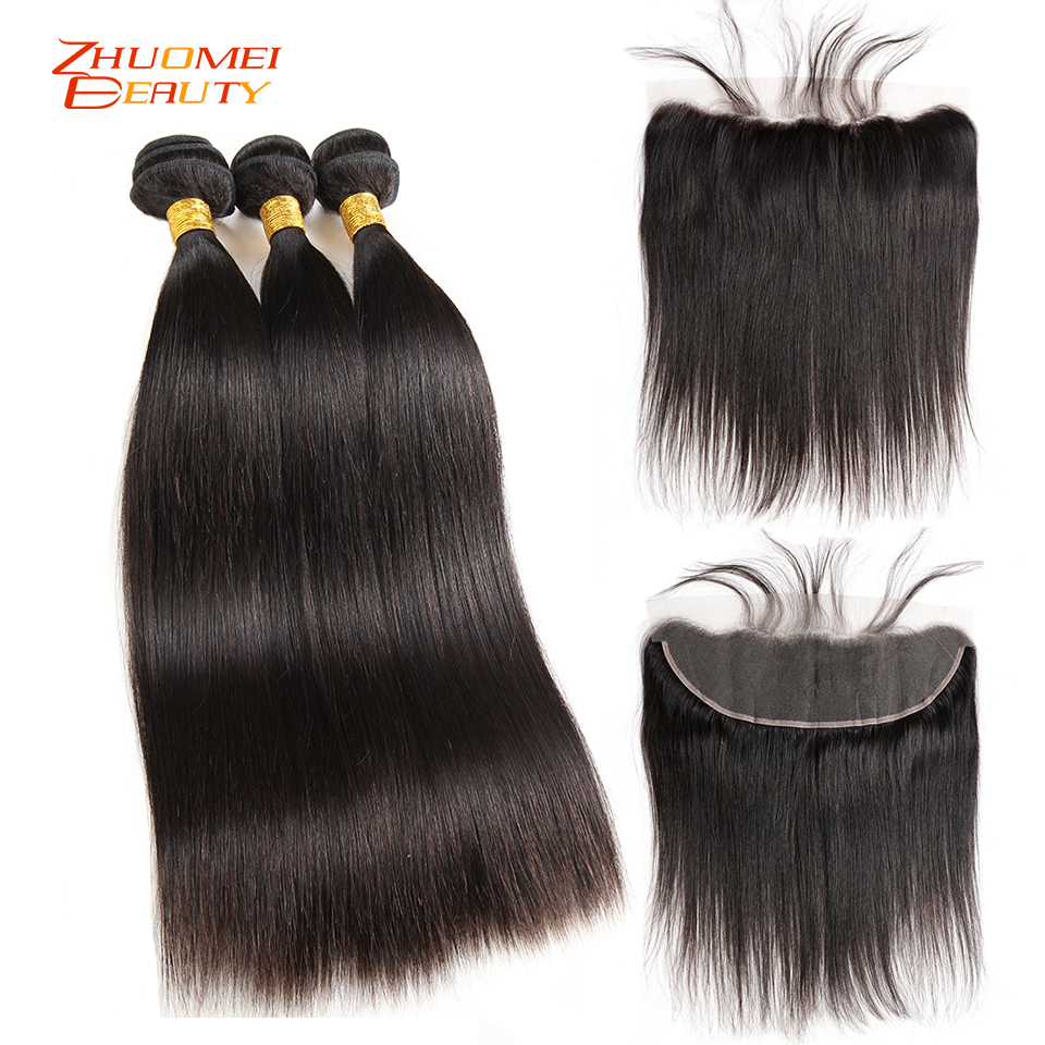 Malaysian Straight Human Hair 3 Bundles With Frontal Closure Remy Hair Pre Plucked 13 4 Lace