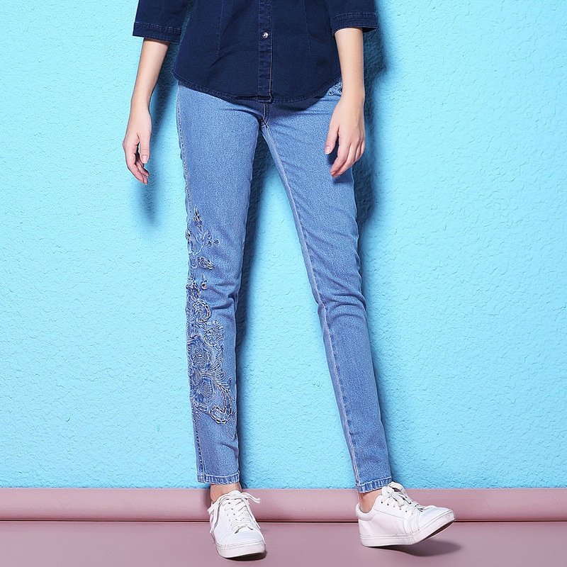Spring and autumn new stylish white collar jeans slim thin lace embroidery hollow out breathable jeans