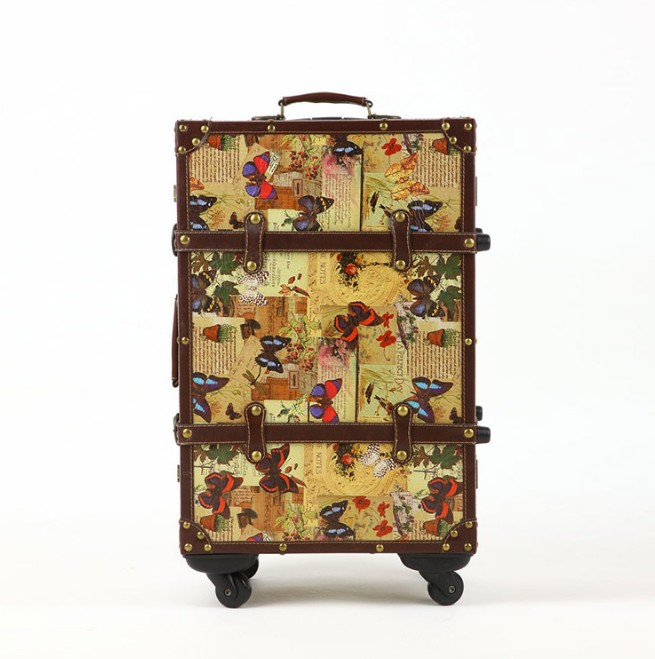 "20""22""24"" Inches women butterfly rolling luggage spinner hardside vintage suitcases Pu leather"