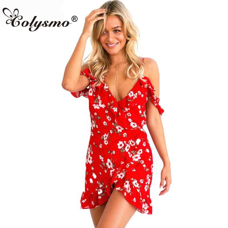 Colysmo Womens Summer Dress Deep V Neck Red Dress Floral Frill Wrap Dress Ruffled Short Butterfly Sleeve Bohemian Mini Dresses